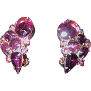 Vintage Rhinestone Clip on Earrings in Purple, Pink and Aurora Borealis
