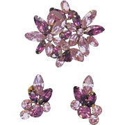 Vintage Juliana Demi Parure in Purple and Lavender Rhinestones Clip Earrings and Brooch