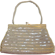 Vintage White Hand Beaded Purse
