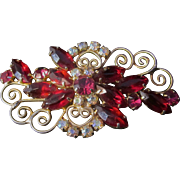 Vintage Julian Red Marquis and Pink Round and Aurora Borealis Rhinestone Brooch
