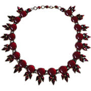 Outstanding Vintage French Gripoix Red Cabochon Rhinestone Necklace Collar Choker Bib