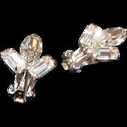 Vintage Rhinestone Art Deco Style Clip on Earrings-Bridal Earrings