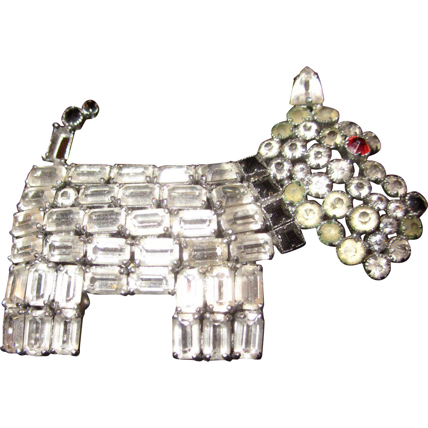 Vintage Rhinestone Scottie Brooch