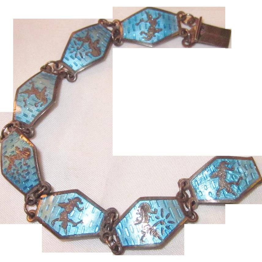 Vintage Blue Siam Bracelet Sterling Silver