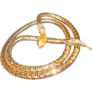 Vintage Whiting and Davis Co. Coiled Snake Serpent Necklace/Armware/Belt