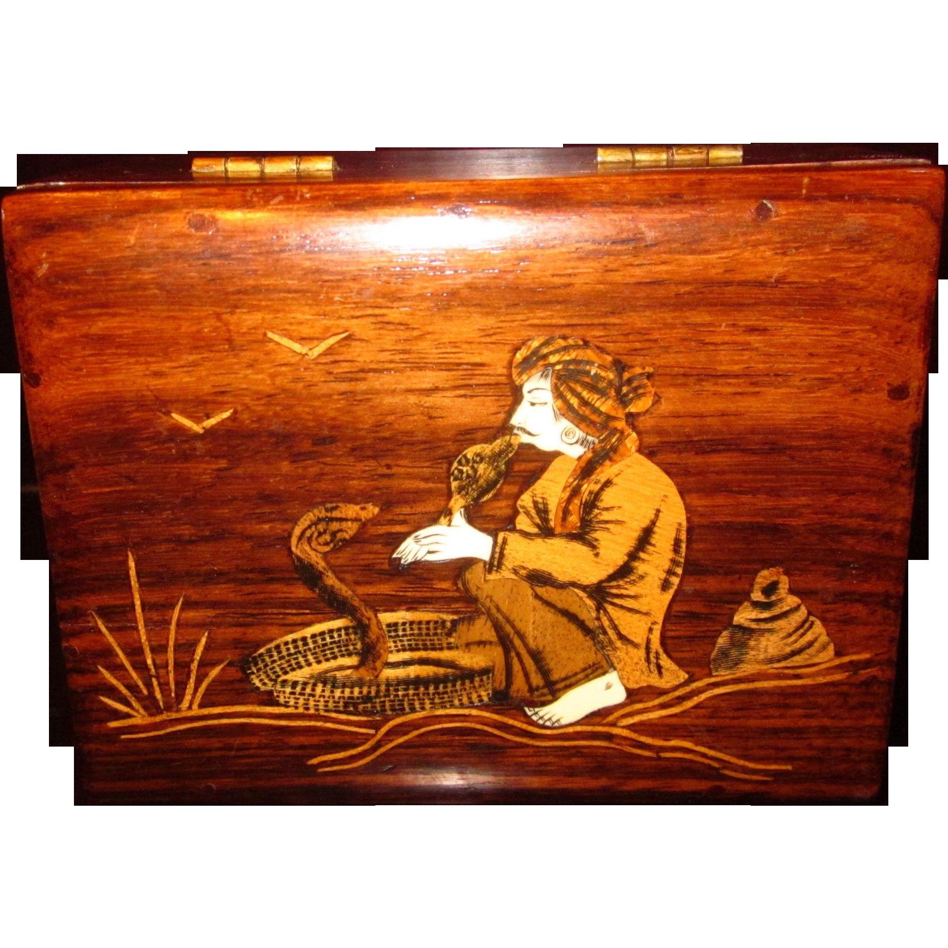 Vintage Rosewood inlaid Snake Charmer Box