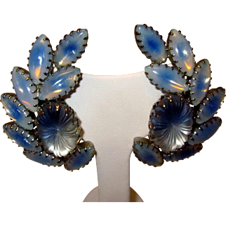 Vintage blue and white frosted pillow molded glass Moonstone look rhinestone clip earrings