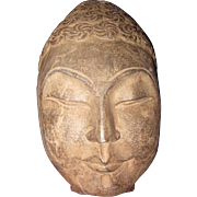 Large Hand Carved Stone Buddha Head