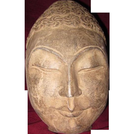 Large hand carved stone buddha head from lazydogantiques