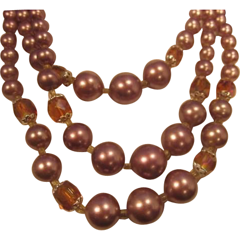 Vintage Triple Strand Bead Necklace with graduating Soft Purple Faux Pearls and Aurora Borealis Amber Crystal Beads - Japan