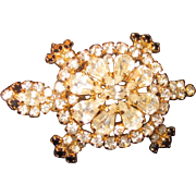 Vintage Icy Bright Rhinestone Turtle Brooch