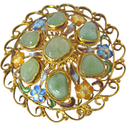 Vintage Chinese Sterling Jade and Enamel Brooch