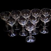 Set of 10 Vintage Crystal Wine Glasses Stemware