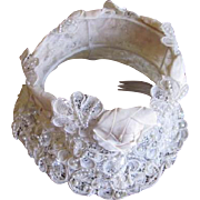 Vintage Bridal cap with Satin Flowers, Lace, Faux Pearls, seed beads, and dripping rhinestone beads