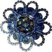 Vintage Large Weiss Blue and Aurora Borealis Layered Rhinestone Brooch/Pin