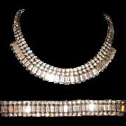 Vintage Signed Weiss Baguette  Demi Parure Choker and Bracelet
