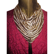 Vintage Whiting and Davis Handkerchief/Bib Animal Print Striped Necklace