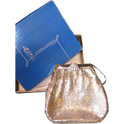 1945 Vintage Whiting and Davis Silver tone Mesh Purse~New in Box~NIB