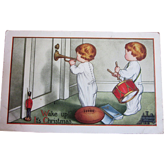 Vintage Christmas postcard Christmas morning drums horn football train soldier wake up