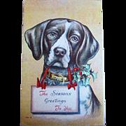Vintage Dog Christmas postcard Beagle hunting dog dogs