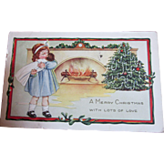 Vintage Christmas postcard Girl with doll baby