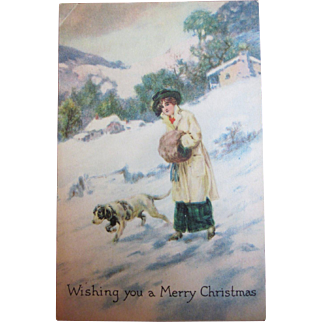 Vintage Christmas postcard Gibson girl woman with pointer hunting dog German short hair pointer