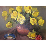 Impressionist Oil on artist canvas board Yellow Roses still life painting