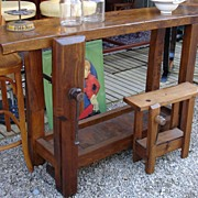 "19th Century French ""etabli"" in Solid French cherrywood with original solid iron hardware"