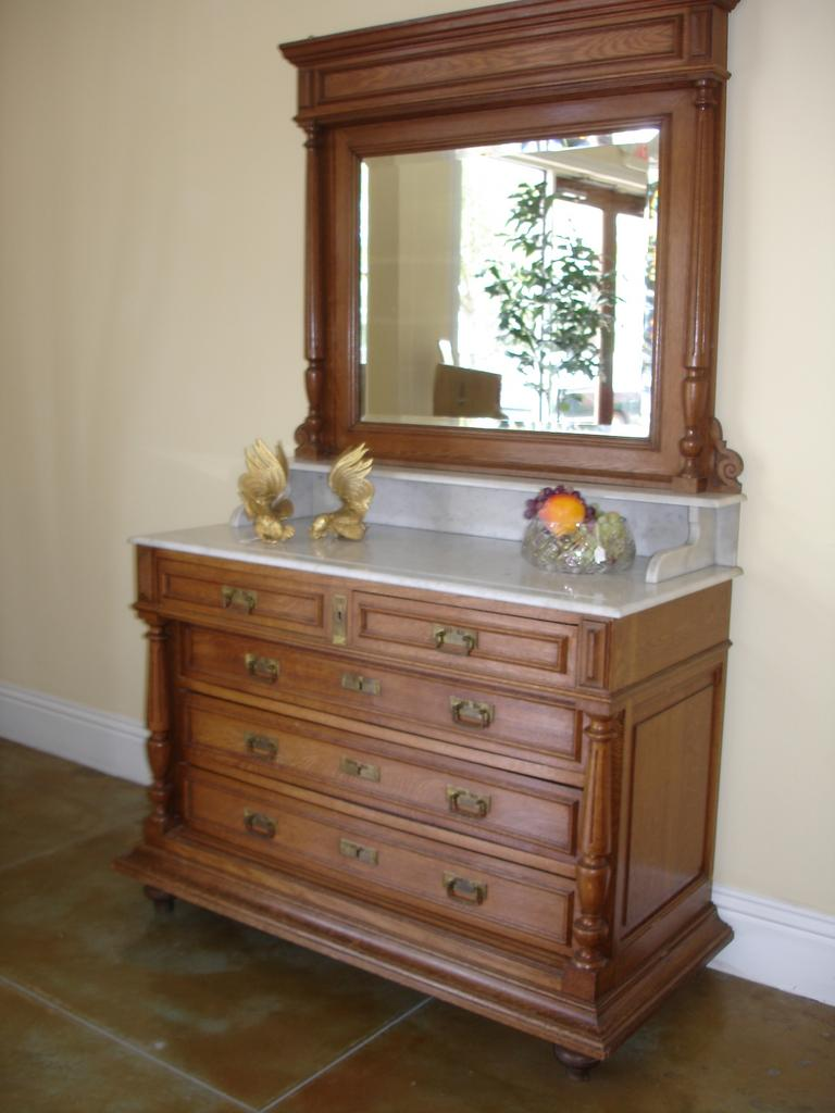 SALE ITEM Antique Vanity Commode/Mirror w/ exquisite Carrara Marble top, integrated Back and Sidesplashes coordinating nightstand available