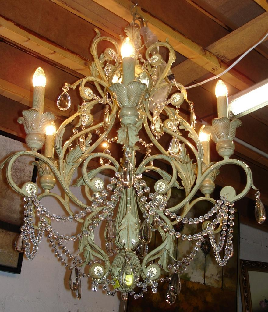 SALE ITEM Louis XV style Painted Chandelier, pale green