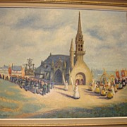 "SALE ITEM Fabulous Flemish Original Oil on Canvas Framed Painting, "" Procession"" by Van de Maele"