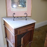 19th C. Continental Solid Carved Oak Nightstand w/ Carrara Marble Top