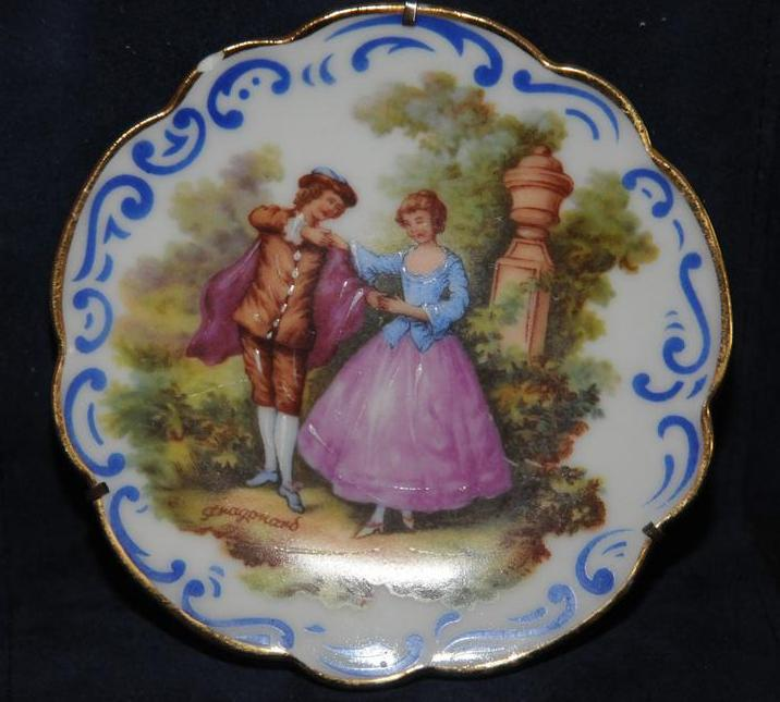 Miniature Limoges signed Fragonard Vintage Handpainted Porcelain Plate with stand