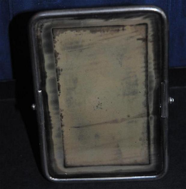 Very Old Travel Mirror with Integrated Stand Shagreen Back - Interesting
