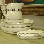 SALE ITEM Vintage Washbasin set: Ewer, Basin, Oblong Lidded Receptacle