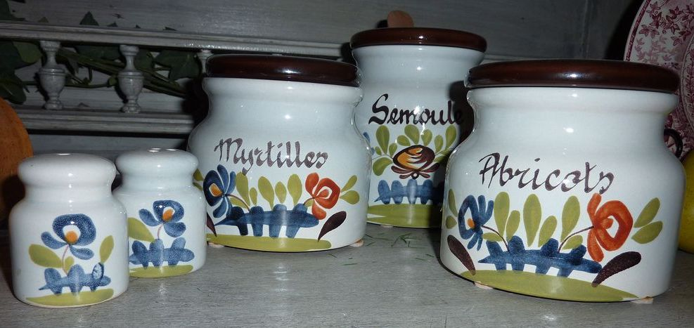 Set of Three (3) French Confiture/ Marmalade/ Wheat Jars with Lids, matching salt/pepper shakers Signed