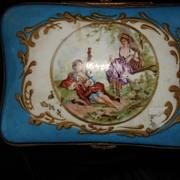 French Porcelain Enamel Lidded Dresser Box, in the manner of Boucher FREE Shipping through Nov15th