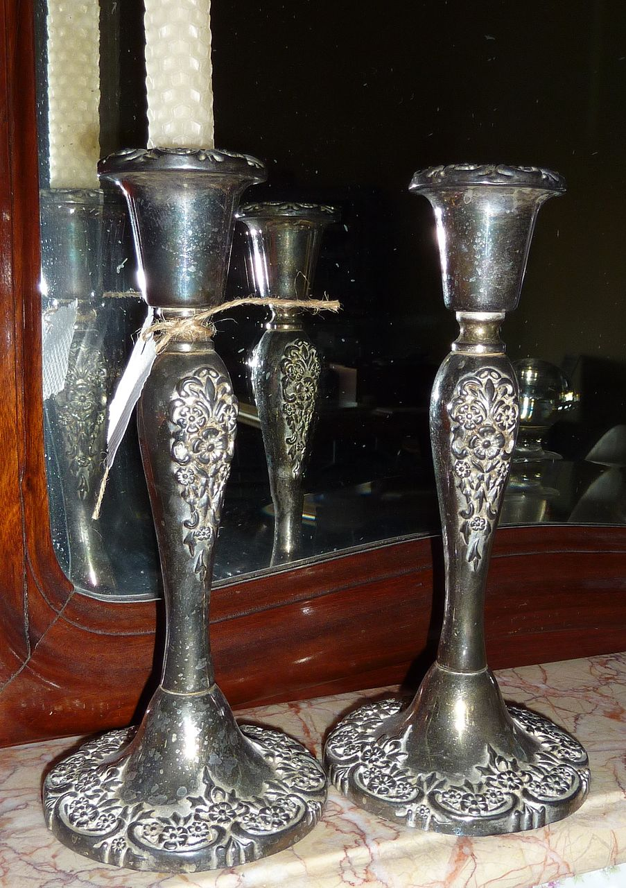 Pair Antique French Silverplated Candlesticks Floral Repousse