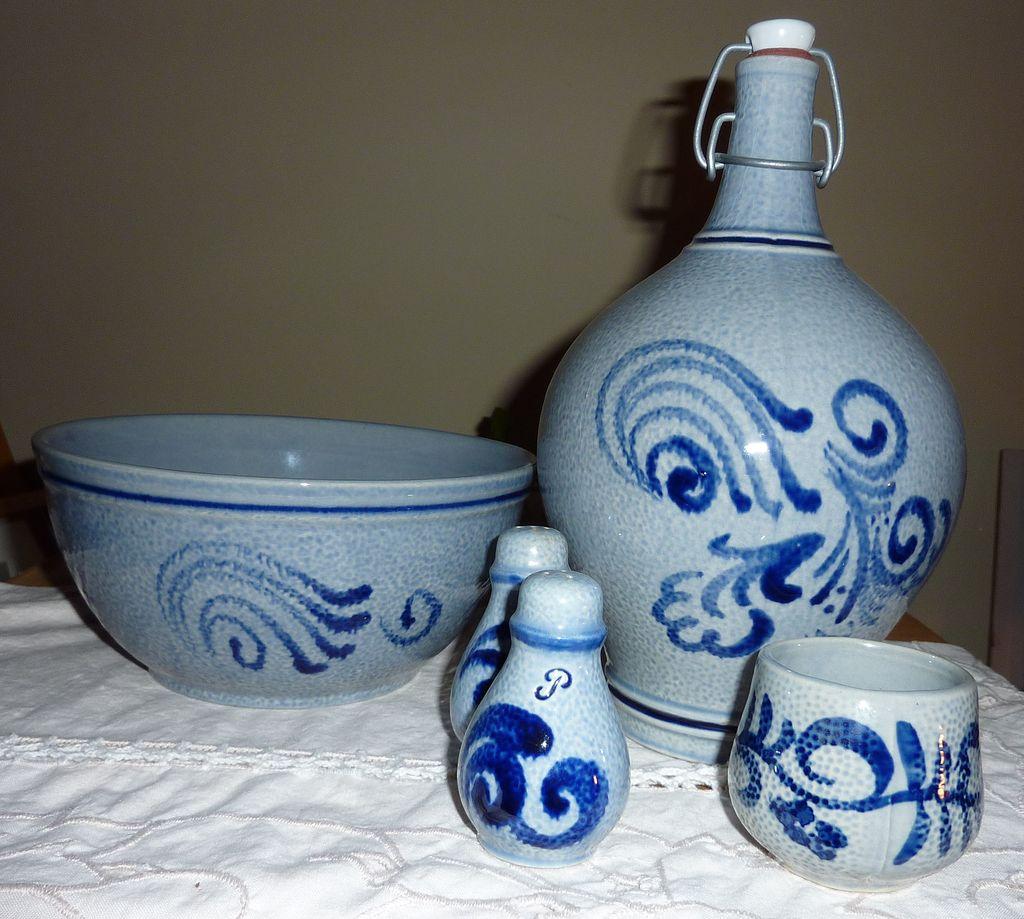 Salt glazed European stoneware 5 piece  set blue/grey, with Cobalt swirls