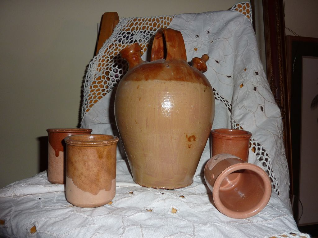 FALL SALE ITEM  Antique French Glazed Earthenware Jug with Matching Four Cups