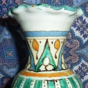 FALL SALE Item: Vintage Moroccan Hand Painted Ceramic Vase with Ruffled Rim