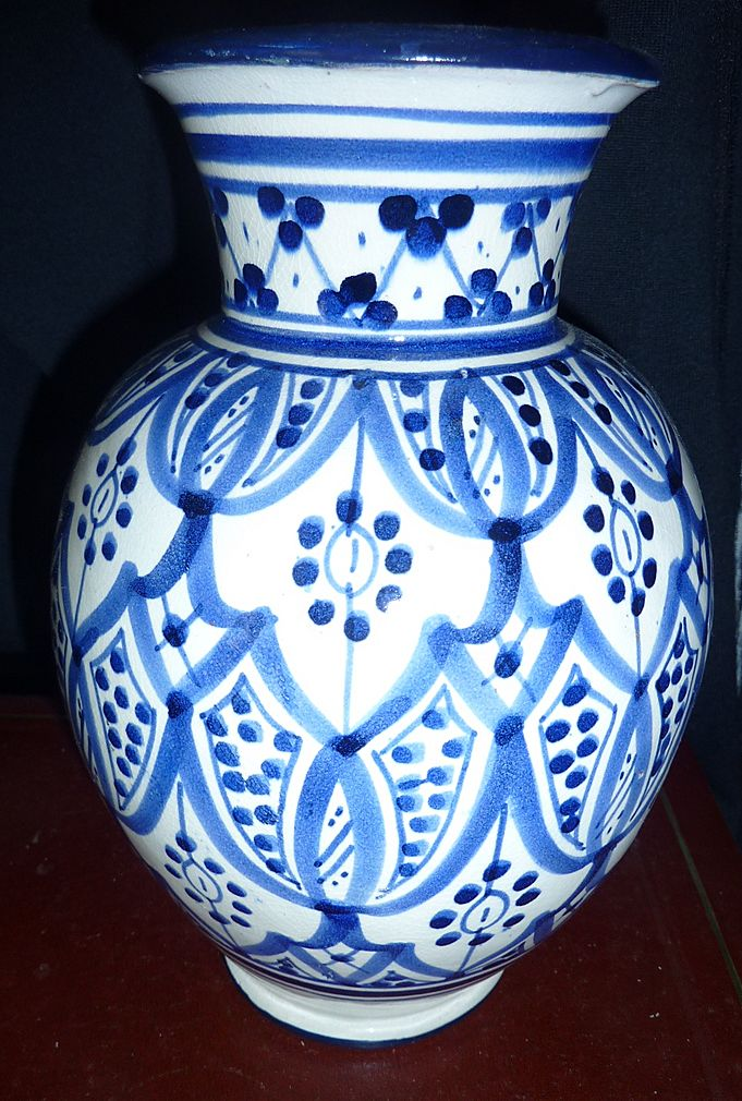 Very Old Blue And White Morrocan Vase Signed Le Cote Francais Ruby Lane