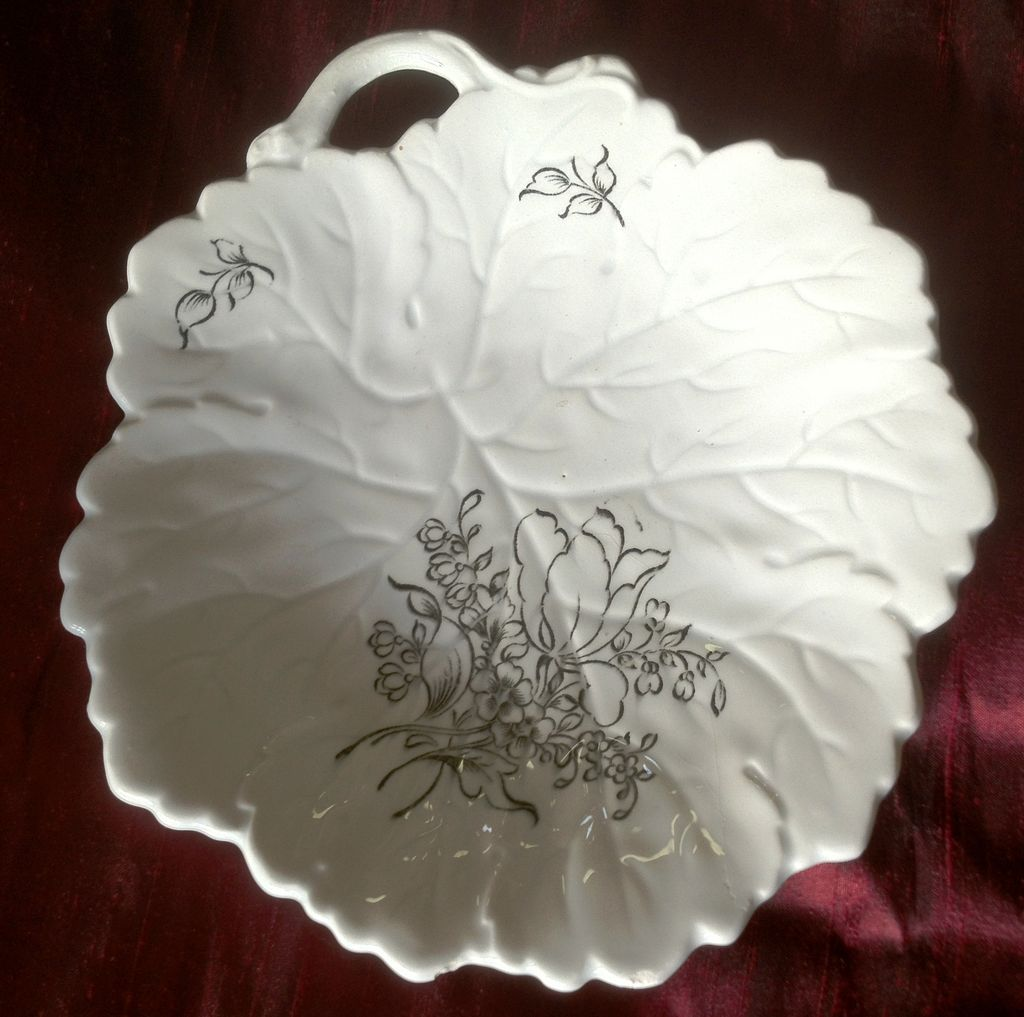 Old French Luneville Ceramic Porcelain Leaf Dish