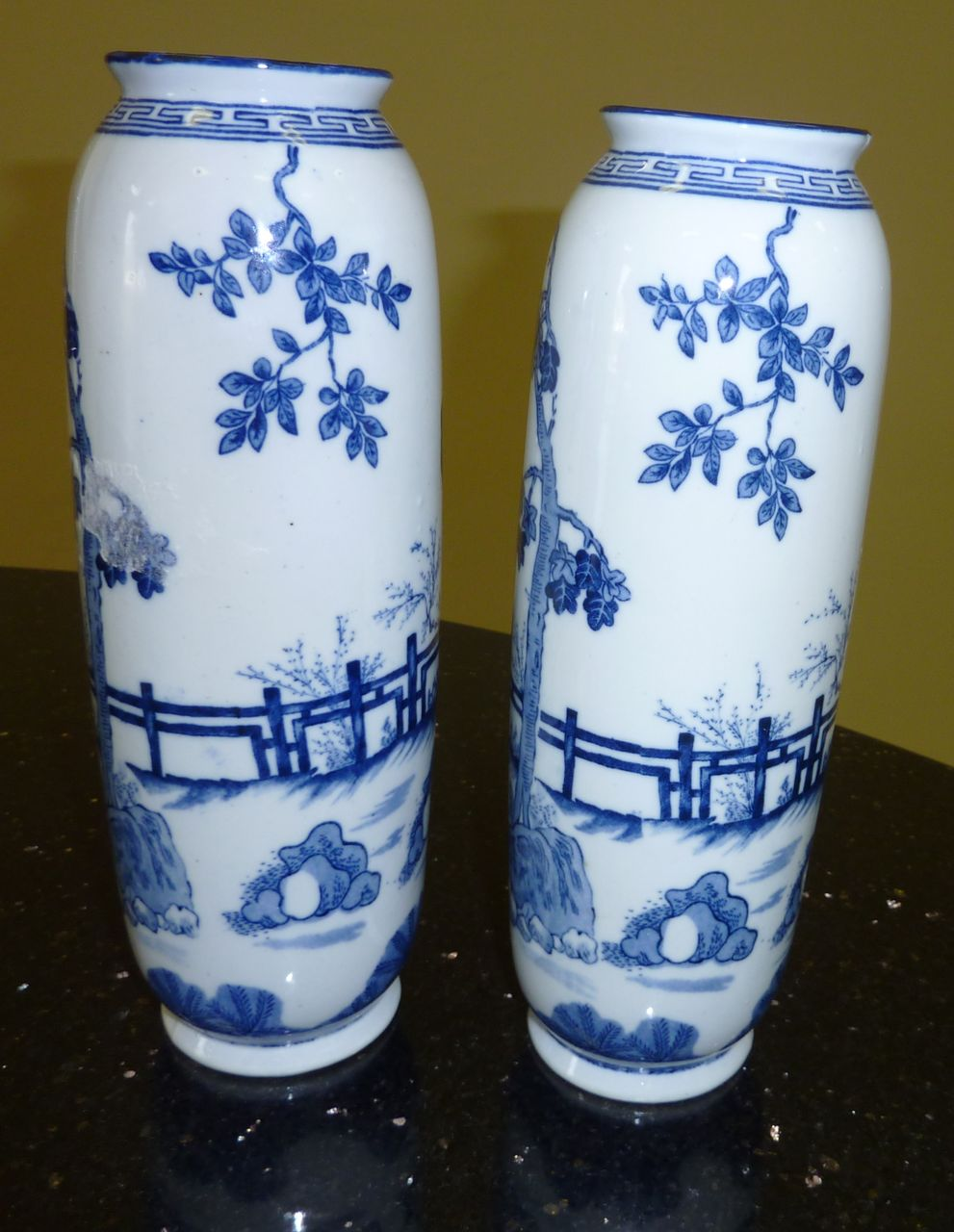 Pair of Blue and White Very Old Chinese Porcelain Vases