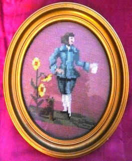 Old French Needlepoint in Gilt Oval Frame