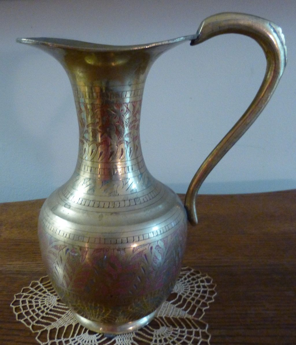 Brass Etched Enamel Pitcher /Vase, French Estate find