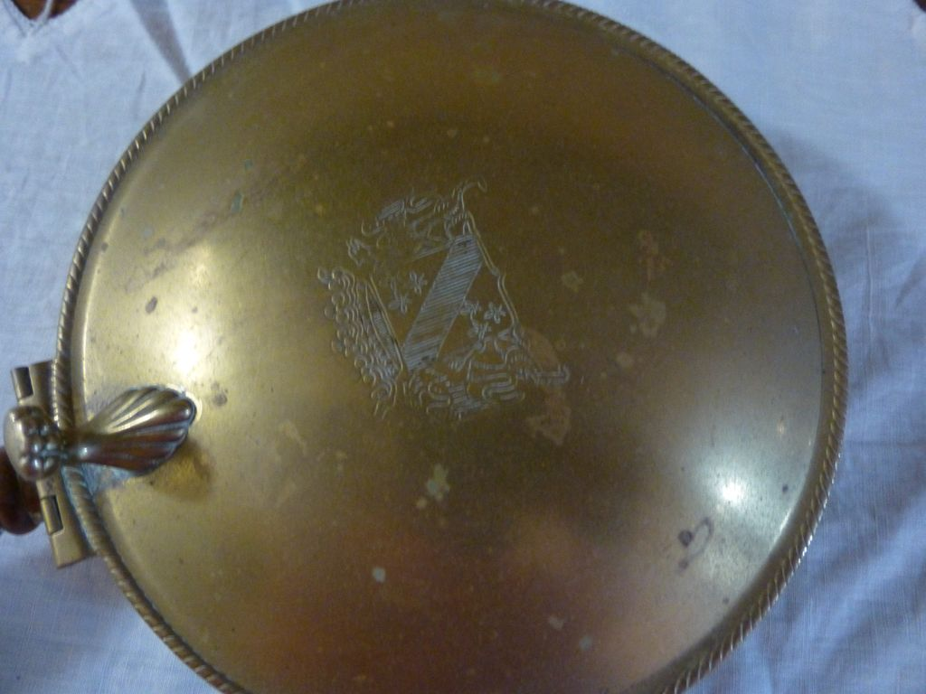 Vintage Brass Silent Butler/ Crumb Catcher with wooden handle