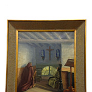 "Original Framed Oil Painting, ""Brothers In Prayer""  by Flemish Artist J Van der Maele"