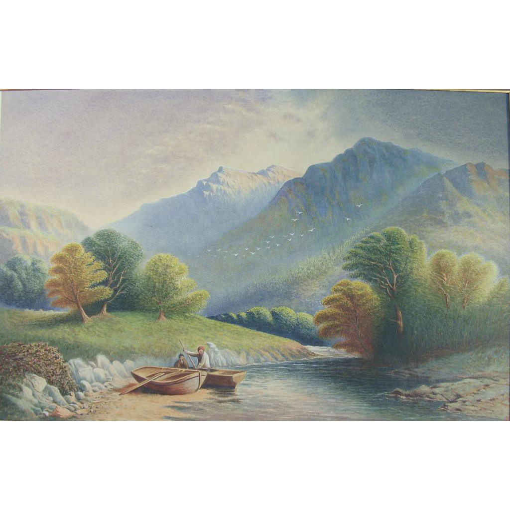 19th Century Continental School Landscape Watercolour Painting