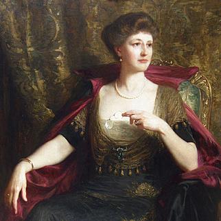 Sir Francis Bernard `Frank` Dicksee (British 1853-1928) Edwardian, Portrait of Lady Wood Oil on Canvas
